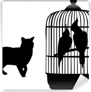 Vinyl-Fototapete Papageien und Katze Silhouette - Vektor