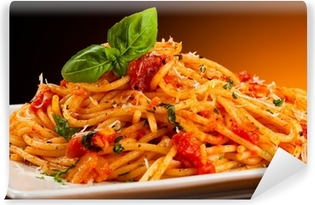 Vinyl-Fototapete Pasta mit Tomatensauce und Parmesan