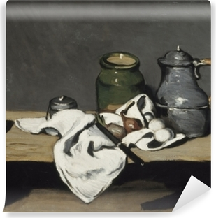 Vinyl-Fototapete Paul Cézanne - Stillleben mit grünem Gefäß und Zinnkanne