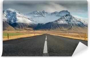 Vinyl-Fototapete Perspektivenstraße mit Schneegebirgszughintergrund in der bewölkten Tagesherbstsaison Island