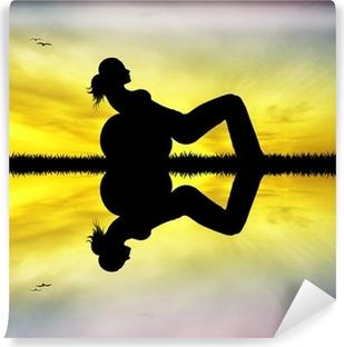 Vinyl-Fototapete Pilates bei Sonnenuntergang