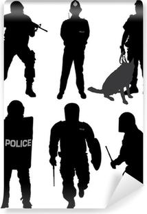 Vinyl-Fototapete Polizist Silhouette