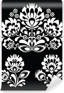 Vinyl-Fototapete Polnische Blumenvolks weiße Muster auf schwarzem - Wzory Lowicki