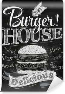 Vinyl-Fototapete Poster Schriftzug Burger House mit einem Hamburger und inscr gemalt