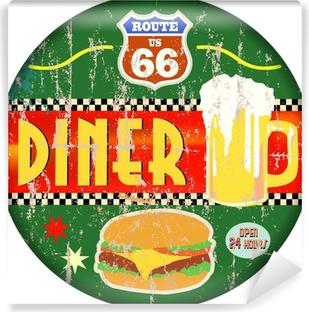 Vinyl-Fototapete Retro amerikanische Route 66 Diner Zeichen, Vektor-EPS