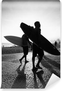 Vinyl-Fototapete Rio Surfbrett Sonnenuntergang Surfers Arpoador Brasilien