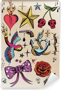 Vinyl-Fototapete Rockabilly Tattoo vorlagen farbig