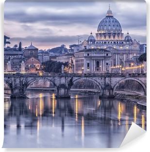 Vinyl-Fototapete Rom und dem Fluss Tiber in der Abenddämmerung