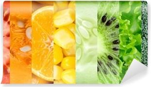 Vinyl-Fototapete Sammlung mit verschiedenen Früchten und Gemüse