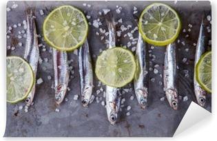 Vinyl-Fototapete Sardelle Fresh Marine Fish.Appetizer. selektiven Fokus.