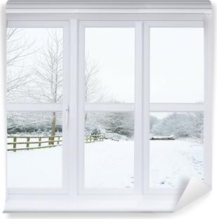 Vinyl-Fototapete Schnee-Szene Fenster
