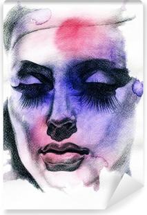 Vinyl-Fototapete Schöne Frau. Handgemalte Modeillustration