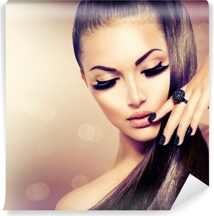Vinyl-Fototapete Schönheit Mode Modell Mädchen mit langen gesundes Braun Haar