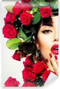 Vinyl-Fototapete Schönheit Mode Modell Mädchen-Portrait mit roten Rosen Frisur