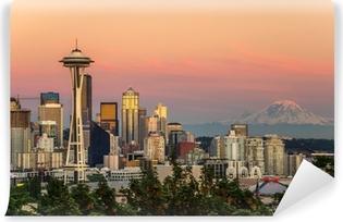Vinyl-Fototapete Seattle Skyline und Mount Rainier bei Sonnenuntergang