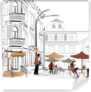 Vinyl-Fototapete Series of street cafe in Skizzen
