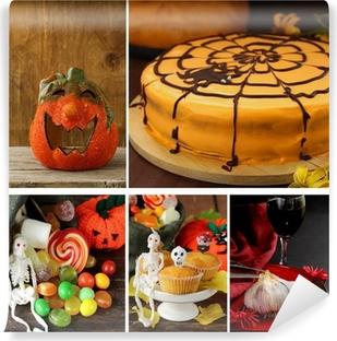 Poster Set Halloween Kürbis Kuchen Leckereien Und Tischdekoration