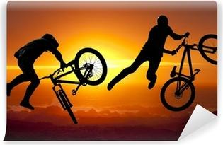 Vinyl-Fototapete Silhouette bmx Sport-Fahrer in Aktion mit Landschaft Hintergrund