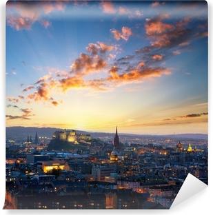 Vinyl-Fototapete Sonnenuntergang Blick auf Edinburgh, Großbritannien
