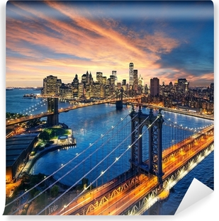 Vinyl-Fototapete Sonnenuntergang über Manhattan und die Brooklyn Bridge