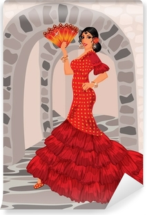 Vinyl-Fototapete Spanisch Frau im Stil eines Flamenco-