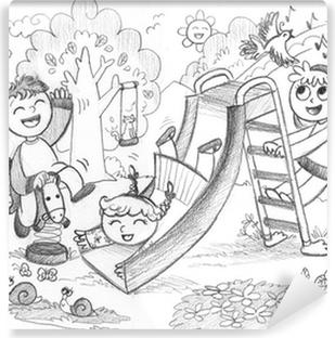 Abwaschbare Fototapete Spielplatz 3 Gluckliche Kinder Spielen Hand Gezeichnete Illustration
