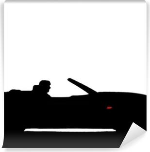 Vinyl-Fototapete Sportwagen-Silhouette
