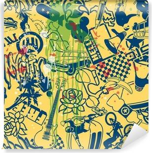 Vinyl-Fototapete Stadt Patchwork nahtlose Muster