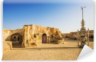 Vinyl-Fototapete Star Wars Film Dekoration in der Wüste Sahara, Tunesien