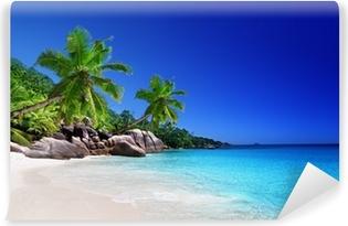 Vinyl-Fototapete Strand an der Insel Praslin, Seychellen