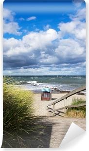Vinyl-Fototapete Strandlandschaft mit Strandkörben im Ostseebad Heiligenhafen