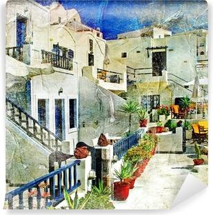 Vinyl-Fototapete Straßen von Santorini - Kunstwerk im Malstil