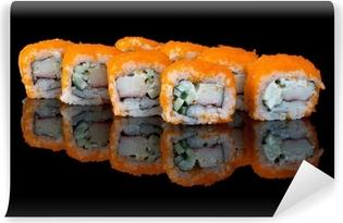 Vinyl-Fototapete Sushi mit fliegenden Fischeier