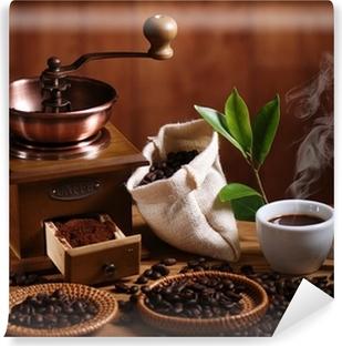 Vinyl-Fototapete Tasse Espresso Kaffeemühle mit Holz