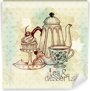 Vinyl-Fototapete Tee und Desserts - Weinlese-Menü-Karte im Vektor