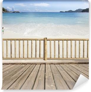 Vinyl-Fototapete Terrasse Balkon mit Meerblick auf den Seychellen
