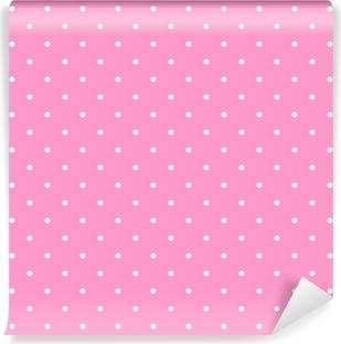 Vinyl-Fototapete Tile Vektor-Muster mit weißen Tupfen auf rosa Hintergrund