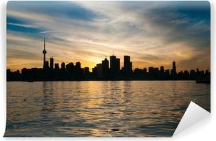 Vinyl-Fototapete Toronto Skyline der Stadt bei Sonnenuntergang