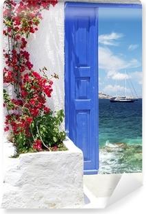 Vinyl Fototapete Traditionelle Griechische Tür Auf Der Insel Mykonos,  Griechenland