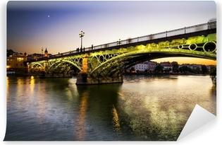 Vinyl-Fototapete Triana-Brücke über den Fluss Guadalquivir, Sevilla, Spanien.