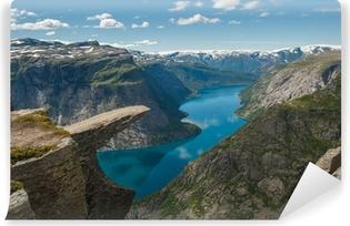 Vinyl-Fototapete Trolltunga, Troll Zunge Felsen, Norwegen