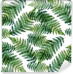 Vinyl-Fototapete Tropisches Aquarellzusammenfassungsmuster mit Farnblättern