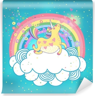 Vinyl-Fototapete Unicorn Regenbogen in den Wolken