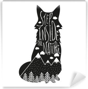 Vinyl-Fototapete Vector Hand Schriftzug Illustration gezeichnet. Treten Sie ein in die Natur. Typografie Plakat mit Fuchs, Berge, Kiefernwald und Wolken.
