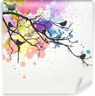 Vinyl-Fototapete Vector Zweig mit Vögeln auf einem abstrakten Hintergrund