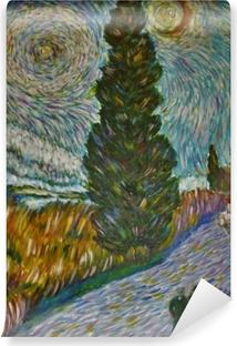 Vinyl-Fototapete Vincent van Gogh - Straße mit Zypresse und Stern