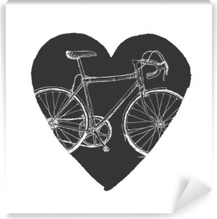 Vinyl-Fototapete Vintage Fahrrad in Herz.