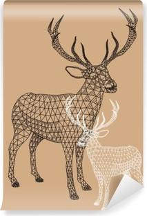 Vinyl-Fototapete Weihnachten Rentier mit geometrischem Muster, Vektor