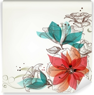 Vinyl-Fototapete Weinlese-Blumen Hintergrund