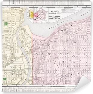 Weinlese-Farbe Stadtplan Kansas City Missouri und Kansas, USA